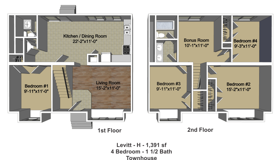 Four Bedroom Townhomes four bedroom - one and one half bath townhomes - new village